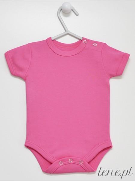 Ciemny Róż Krótki Rękaw - body niemowlęce