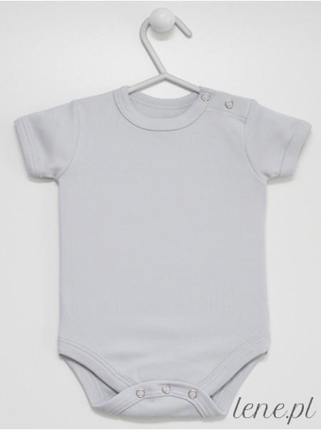 Krótki Rękaw Kolor Szary - body dla niemowlaka rozmiary od 56 do 92
