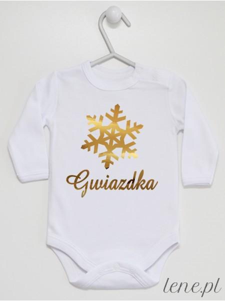 Napis Gwiazdka i Śnieżynka Nadruk Złoty - body świąteczne na Boże Narodzenie