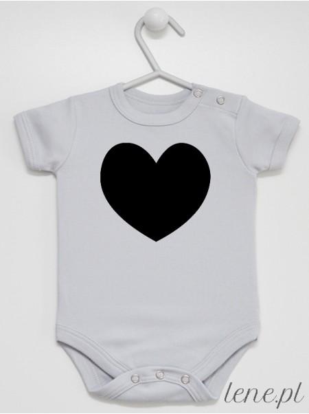 Serduszko Kolor Czarny - body niemowlęce z nadrukiem