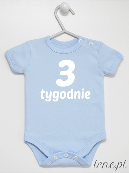 Tydzień Trzeci Nadruk Biały - body dla noworodka do zdjęć