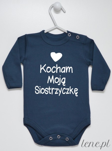 Kocham Moją Siostrzyczkę Nadruk Biały - body niemowlęce z napisem