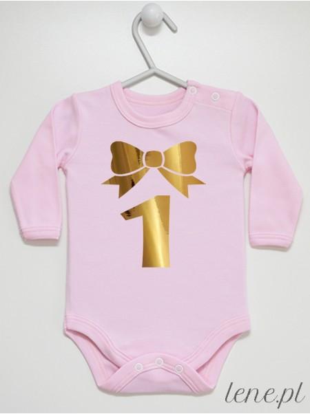 Body niemowlęce Jedynka Z Kokardką rozmiar 80. długi rękaw, kolor różowy