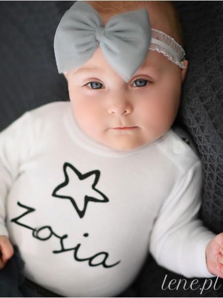 Gwiazdka Nadruk Czarny - body dziecięce z imieniem