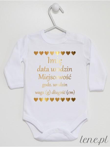 Metryczka Złota - body niemowlęce