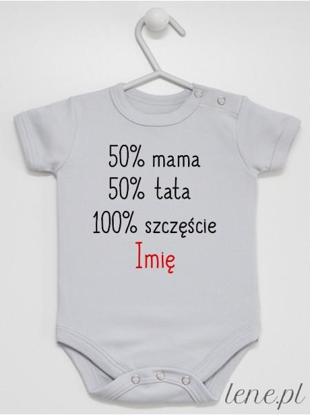 50% Mama 50% Tata + Imię - body niemowlęce