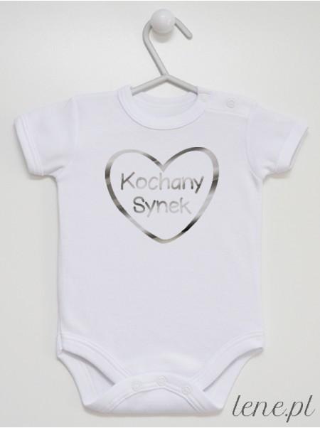 Kochany Synek Nadruk Srebrny w Serduszku - body niemowlęce dla chłopca