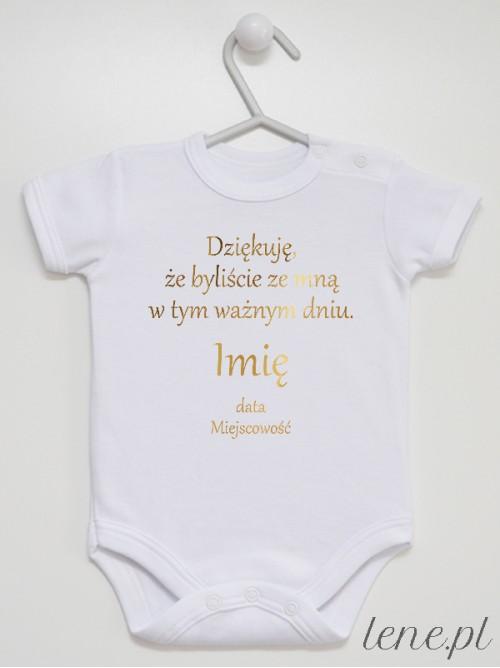 Body niemowlęce Podziękowania - Na Chrzest  Nadruk Złoty