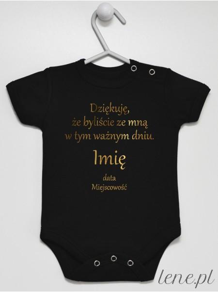 Podziękowania - Na Chrzest  Nadruk Złoty - body niemowlęce