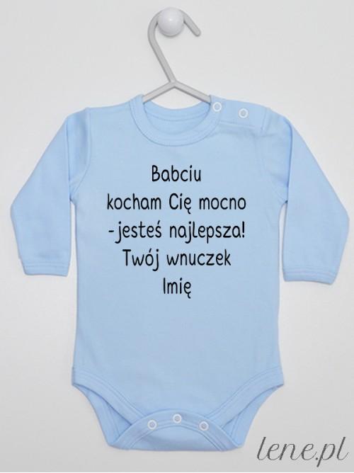 Body niemowlęce Babciu Kocham Cię Mocno Twój Wnuczek + Imię 01