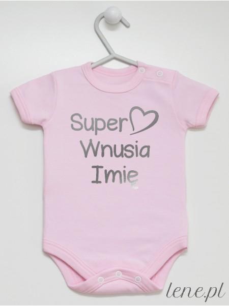 Super Wnusia + Imię 01 Nadruk Srebrny - body niemowlęce