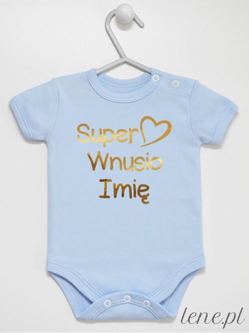 Body niemowlęce Super Wnusio + Imię 01 Nadruk Złoty