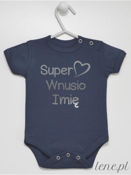 Super Wnusio + Imię 02 Nadruk Srebrny - body niemowlęce