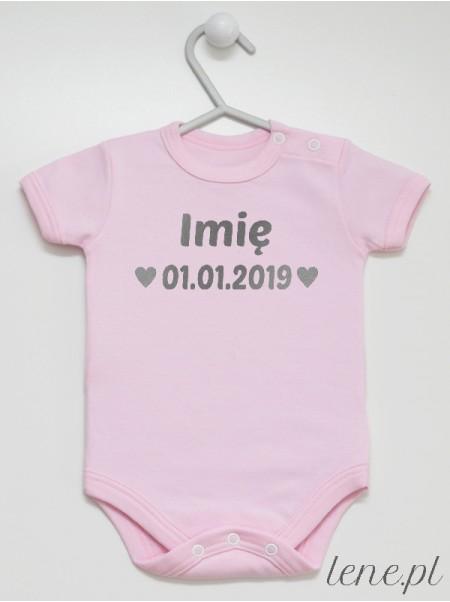 Imię + Data Urodzenia 01 Nadruk Srebrny - body niemowlęce