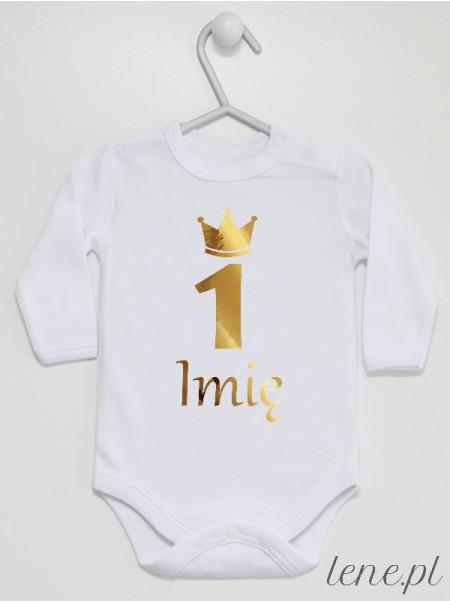 Jedynka Na Roczek Z Imieniem 06 Nadruk Złoty - body niemowlęce