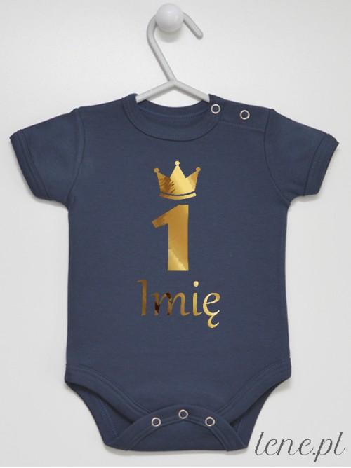 Body niemowlęce Jedynka Na Roczek Z Imieniem 06 Nadruk Złoty