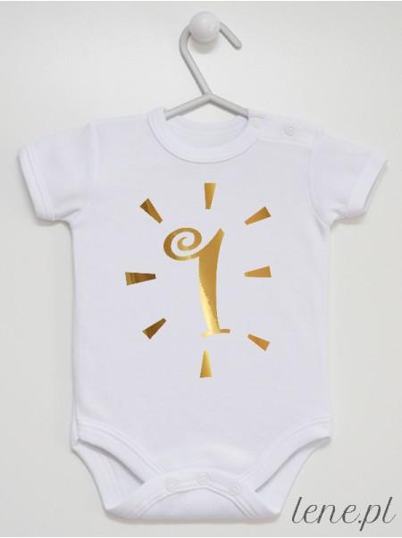 Jeden Rok Złoty Nadruk - body niemowlęce