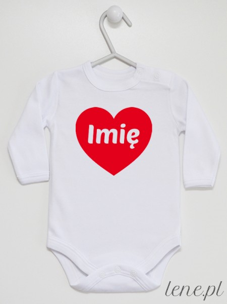 Serce Czerwone + Imię - body niemowlęce