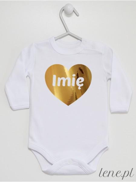 Serce Złote + Imię - body niemowlęce