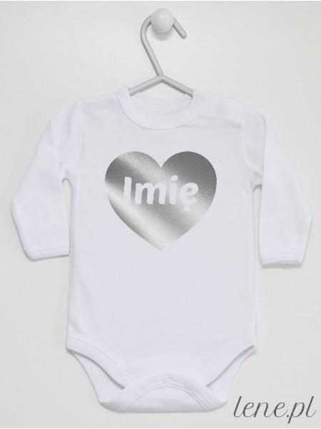 Serce Srebrne + Imię - body niemowlęce