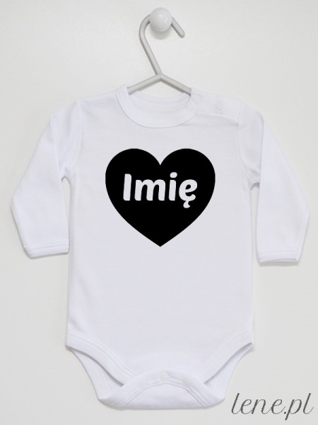 Serce Czarne + Imię - body niemowlęce