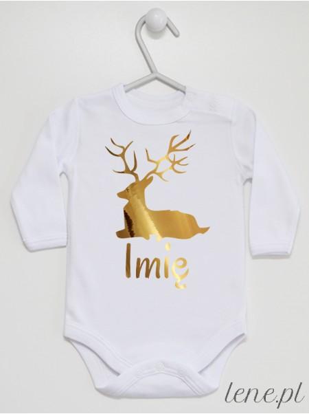 Świąteczny Jelonek Złoty + Imię - body niemowlęce