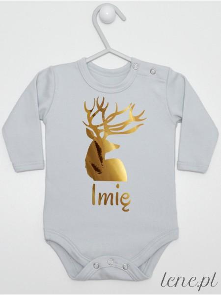 Złoty Jeleń + Twoje Imię - body niemowlęce