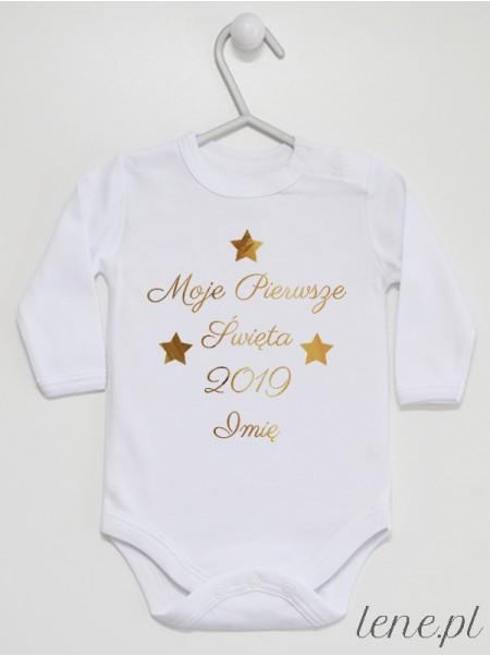 Moje Pierwsze Święta 2021 Nadruk Złoty - body świąteczne z imieniem