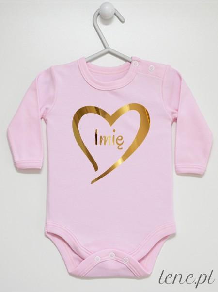 Serduszko Złoty Nadruk + Imię - body niemowlęce