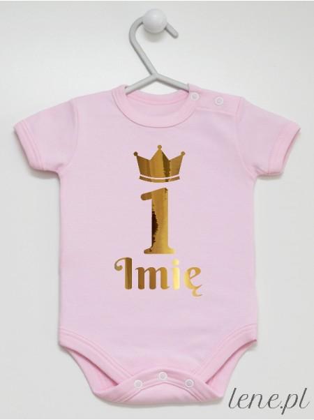 Jedynka w Złotej Koronie + Imię - body niemowlęce