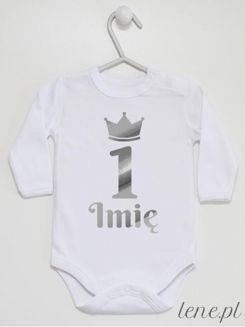 Body niemowlęce Jedynka w Srebrnej Koronie + Imię