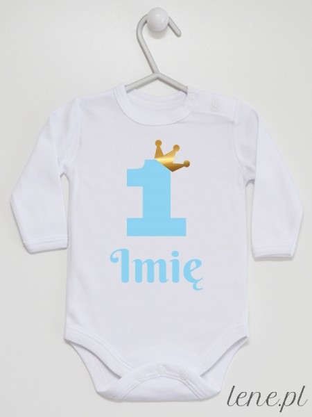 Jedyneczka Niebieska W Koronie Z Imieniem - body niemowlęce