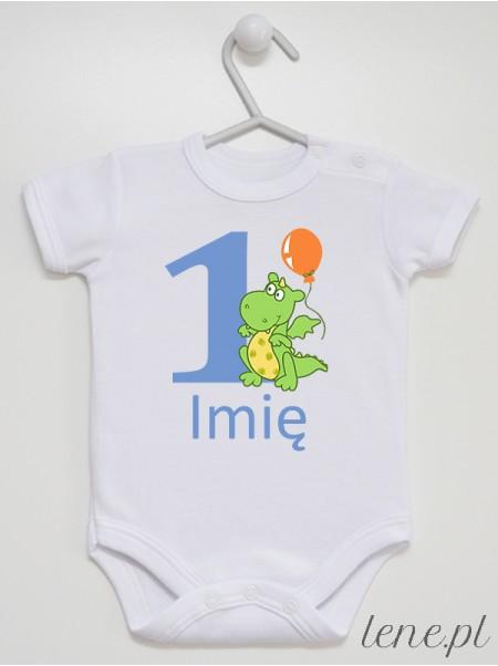 Jedynka Ze Smokiem + Imię 01 - body niemowlęce