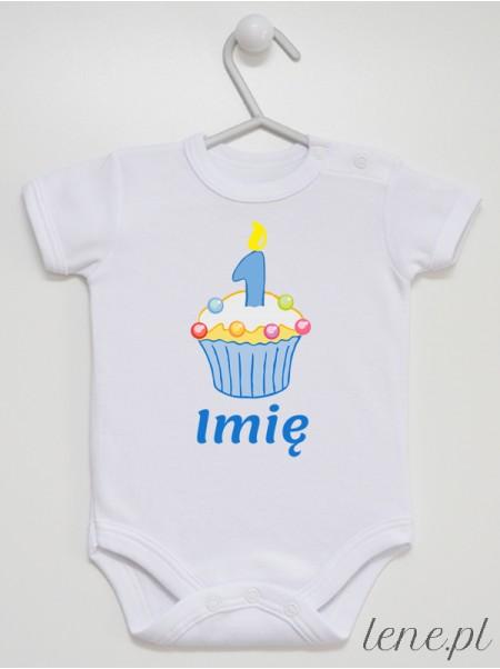 Muffinka Roczek + Imię 02 - body niemowlęce