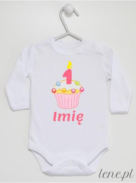 Muffinka Roczek + Imię 03 - body niemowlęce