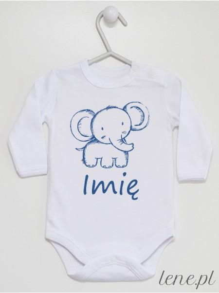 Słonik + Imię - body niemowlęce