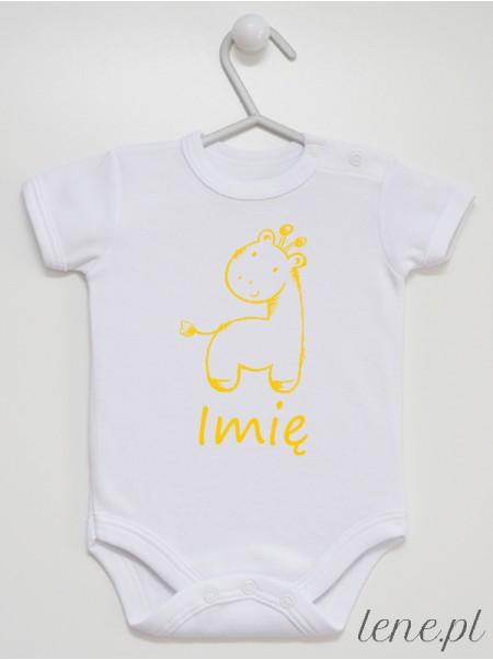 Żyrafa + Imię - body niemowlęce