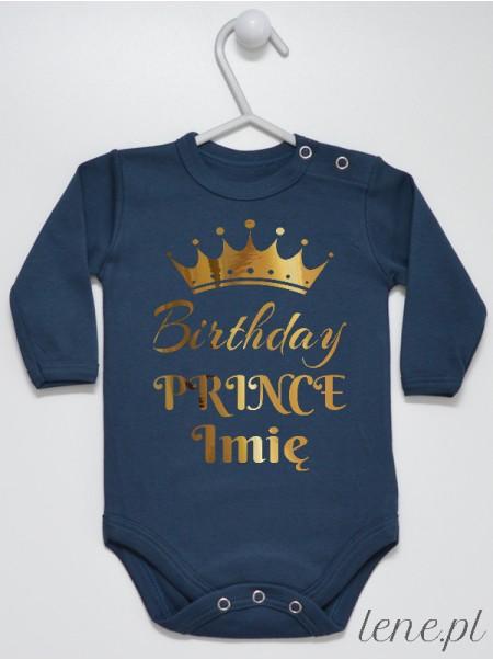 Birthday Prince z Koroną - bodziak z imieniem na roczek