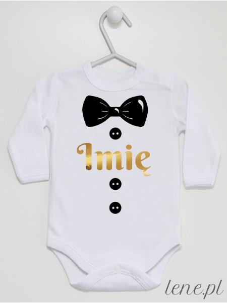 Muszka Czarna Złote Imię - body niemowlęce