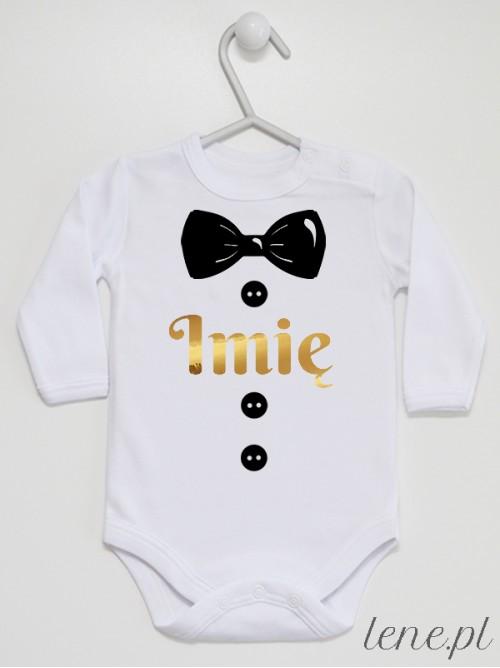 Body niemowlęce Muszka Czarna Złote Imię