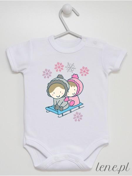 Sanki z Dziećmi - body niemowlęce z nadrukiem na zimę