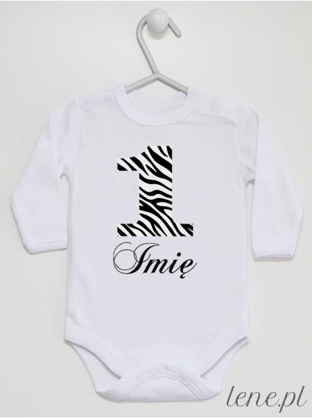 Jedynka Zeberka + Imię - body niemowlęce