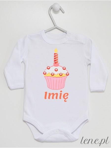 Muffinka Roczek + Imię 07 - body niemowlęce