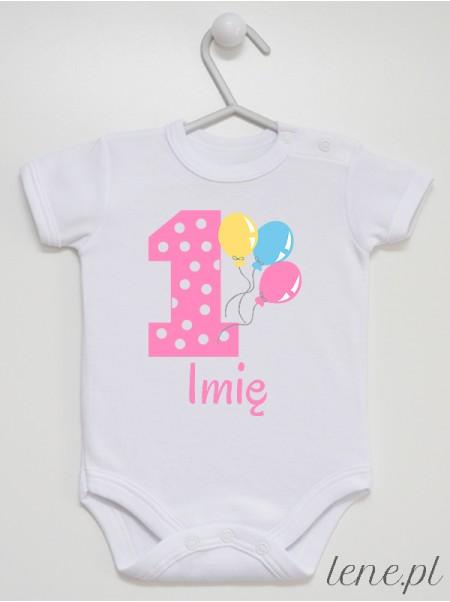 Jedynka Z Balonami + Imię - body niemowlęce 01