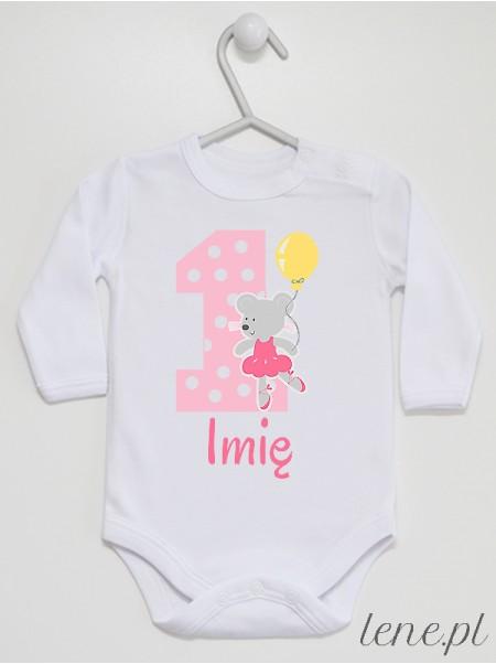 Jedynka Z Myszką + Imię - body niemowlęce