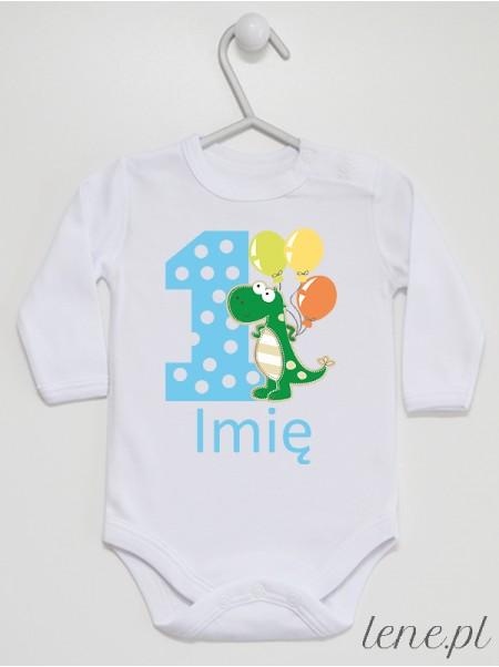Jedynka Ze Smokiem + Imię 02 - body niemowlęce