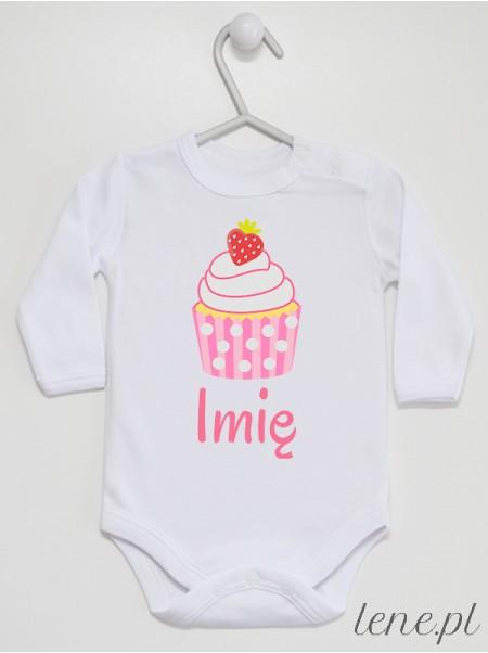 Muffinka Truskawkowa + Imię 02 - body niemowlęce