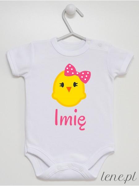 Kurczaczek Z Kokardką + Imię - body niemowlęce