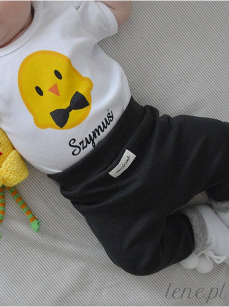 Kurczaczek Z Muszką + Imię - body niemowlęce