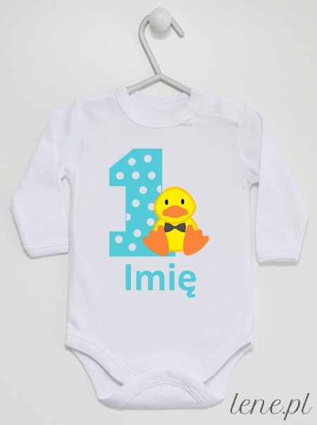Jedynka Z Kaczorkiem + Imię - body niemowlęce